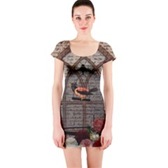 Vintage bird in the cage Short Sleeve Bodycon Dress