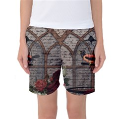 Vintage bird in the cage Women s Basketball Shorts