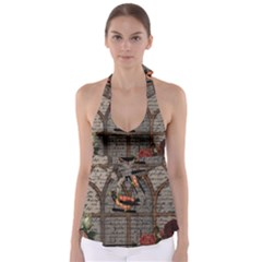 Vintage bird in the cage Babydoll Tankini Top