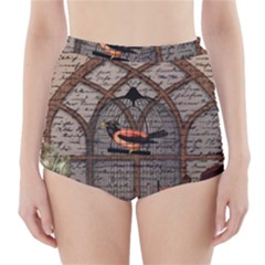 Vintage bird in the cage High-Waisted Bikini Bottoms
