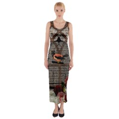 Vintage bird in the cage Fitted Maxi Dress