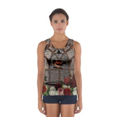 Vintage bird in the cage Women s Sport Tank Top