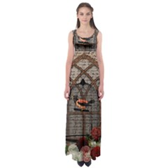 Vintage bird in the cage Empire Waist Maxi Dress