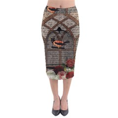 Vintage bird in the cage Midi Pencil Skirt