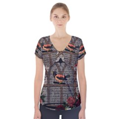 Vintage bird in the cage Short Sleeve Front Detail Top
