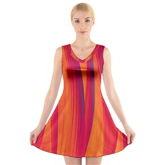 Pattern V-Neck Sleeveless Skater Dress