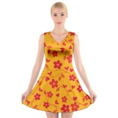 Floral pattern V-Neck Sleeveless Skater Dress