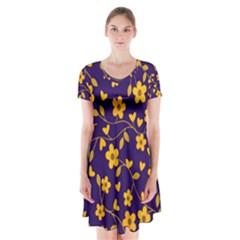 Floral pattern Short Sleeve V-neck Flare Dress
