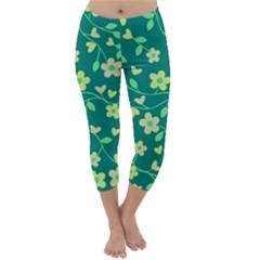 Floral pattern Capri Winter Leggings