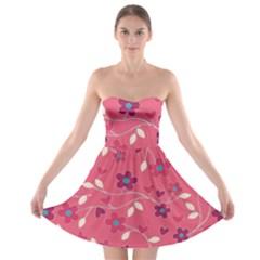 Floral pattern Strapless Bra Top Dress
