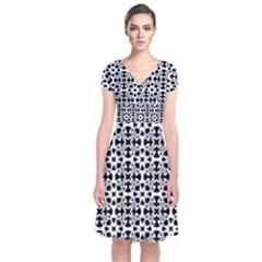 Pattern Short Sleeve Front Wrap Dress