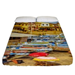 Engabao Beach At Guayas District Ecuador Fitted Sheet (King Size)