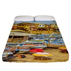 Engabao Beach At Guayas District Ecuador Fitted Sheet (California King Size)