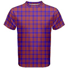 Pattern Plaid Geometric Red Blue Men s Cotton Tee