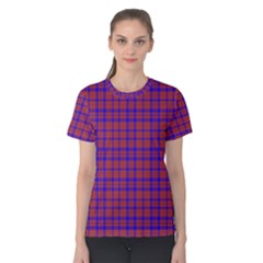 Pattern Plaid Geometric Red Blue Women s Cotton Tee