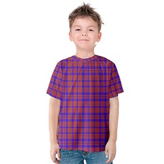 Pattern Plaid Geometric Red Blue Kids  Cotton Tee