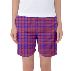 Pattern Plaid Geometric Red Blue Women s Basketball Shorts