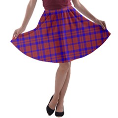 Pattern Plaid Geometric Red Blue A-line Skater Skirt