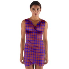 Pattern Plaid Geometric Red Blue Wrap Front Bodycon Dress