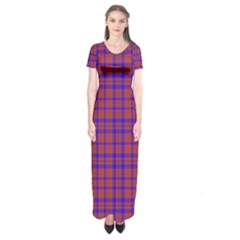 Pattern Plaid Geometric Red Blue Short Sleeve Maxi Dress