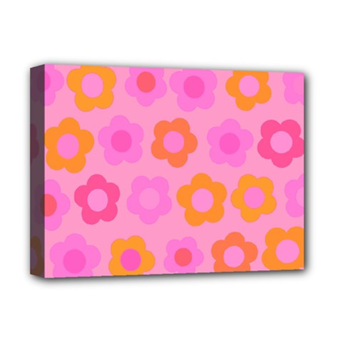 Pink Floral Pattern Deluxe Canvas 16  X 12