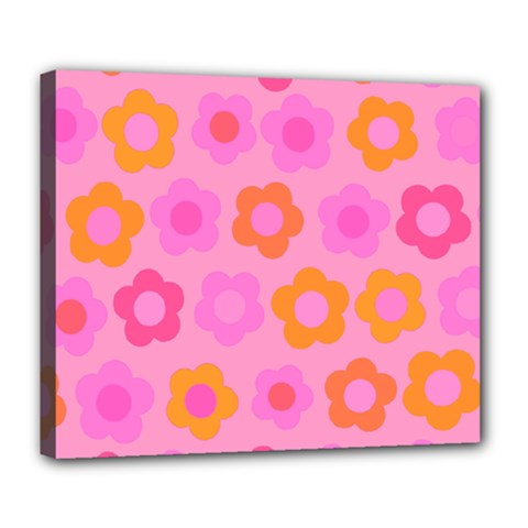 Pink Floral Pattern Deluxe Canvas 24  X 20