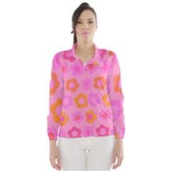 Pink floral pattern Wind Breaker (Women)