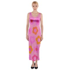 Pink floral pattern Fitted Maxi Dress