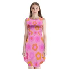 Pink floral pattern Sleeveless Chiffon Dress