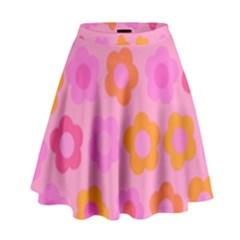 Pink floral pattern High Waist Skirt
