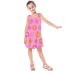 Pink floral pattern Kids  Sleeveless Dress