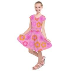 Pink Floral Pattern Kids  Short Sleeve Dress
