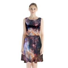 Celestial Fireworks Sleeveless Chiffon Waist Tie Dress