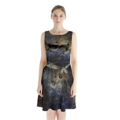 Propeller Nebula Sleeveless Chiffon Waist Tie Dress