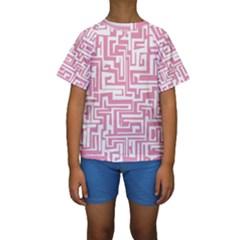 Pink pattern Kids  Short Sleeve Swimwear