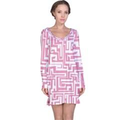 Pink pattern Long Sleeve Nightdress