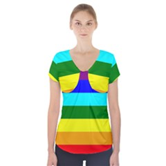 Rainbow Short Sleeve Front Detail Top