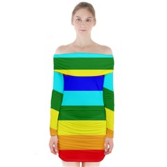 Rainbow Long Sleeve Off Shoulder Dress