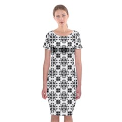 Pattern Classic Short Sleeve Midi Dress