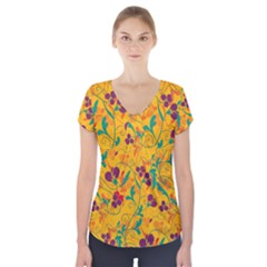 Floral pattern Short Sleeve Front Detail Top