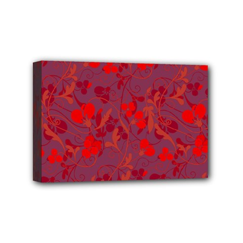 Red floral pattern Mini Canvas 6  x 4