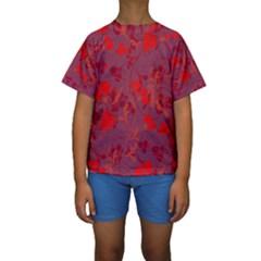 Red floral pattern Kids  Short Sleeve Swimwear