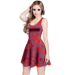 Red floral pattern Reversible Sleeveless Dress