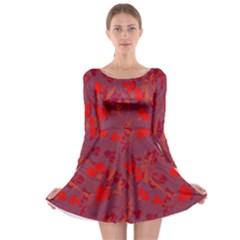 Red floral pattern Long Sleeve Skater Dress