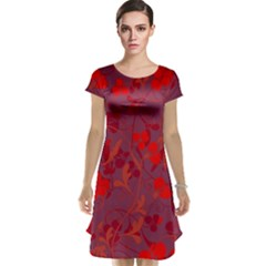 Red floral pattern Cap Sleeve Nightdress
