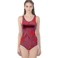 Red floral pattern One Piece Swimsuit