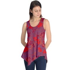 Red floral pattern Sleeveless Tunic