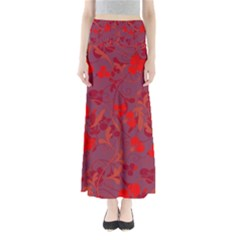 Red floral pattern Maxi Skirts