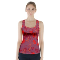 Red floral pattern Racer Back Sports Top