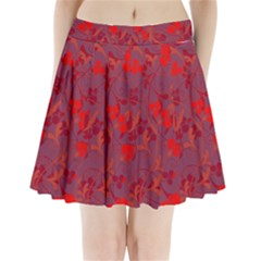 Red floral pattern Pleated Mini Skirt